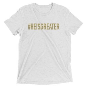 Free Devotions - Christian Resources - #HEISGREATER Tee 2
