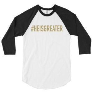 Free Devotions - Christian Resources - #HEISGREATER Baseball Tee